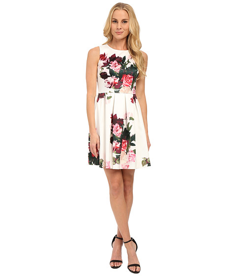 Vince Camuto - Sleeveless Rose Bouquet Dress (Antique White) Women
