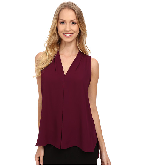 Vince Camuto - Sleeveless V Blouse w/ Inverted Front Pleat (Perfect Plum) Women's Blouse