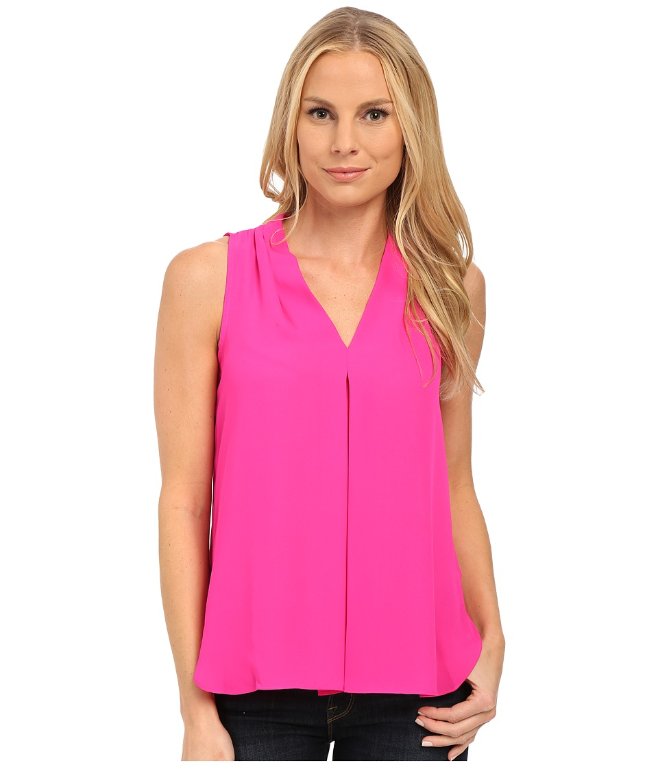 Vince Camuto - Sleeveless V Blouse w/ Inverted Front Pleat (Pop Pink) Women's Blouse