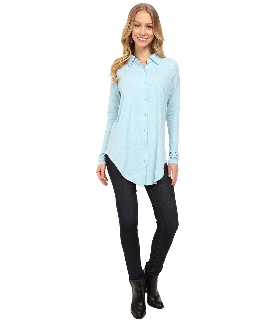 Mod-o-doc - Sueded Slub Jersey Drop Shoulder Button Front Shirt (Blue Frost) Women's Long Sleeve Button Up
