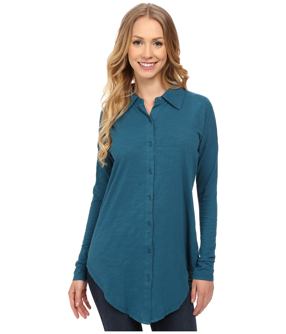 Mod-o-doc - Sueded Slub Jersey Drop Shoulder Button Front Shirt (Baltic) Women's Long Sleeve Button Up