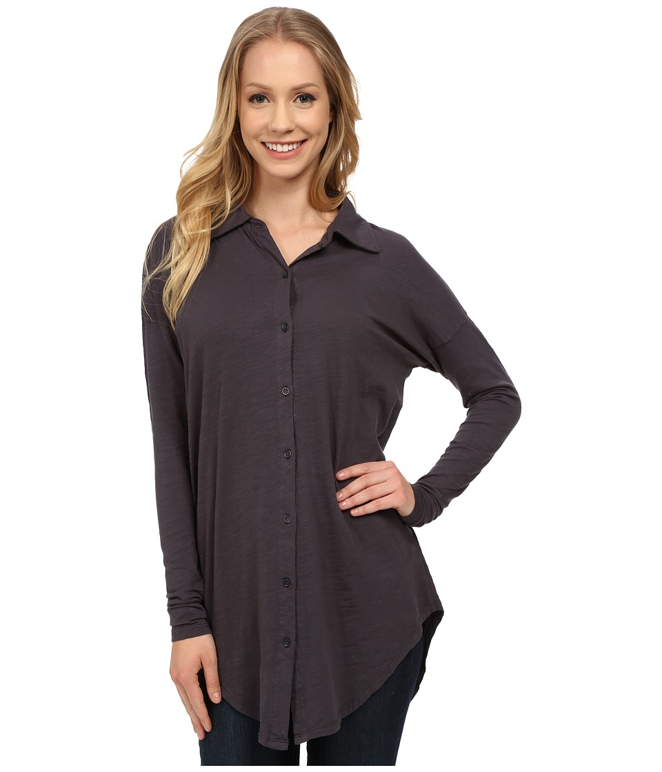 Mod-o-doc - Sueded Slub Jersey Drop Shoulder Button Front Shirt (Night Shade) Women's Long Sleeve Button Up