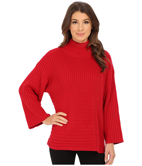 Vince Camuto - Elbow Sleeve Mix Rib Turtleneck Sweater (Crimson) Women