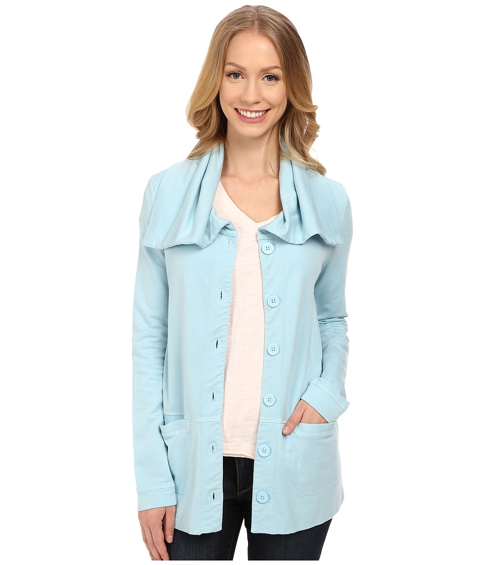Mod-o-doc - Cotton Modal Spandex French Terry Button Up Jacket (Blue Frost) Women's Coat