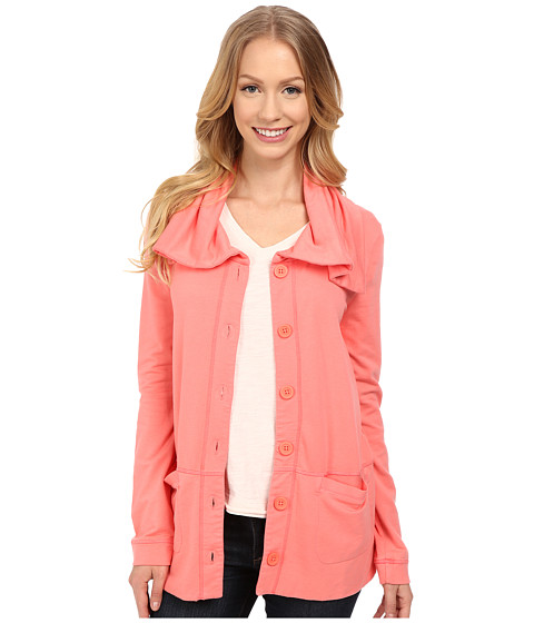 Mod-o-doc - Cotton Modal Spandex French Terry Button Up Jacket (Cafe Coral) Women