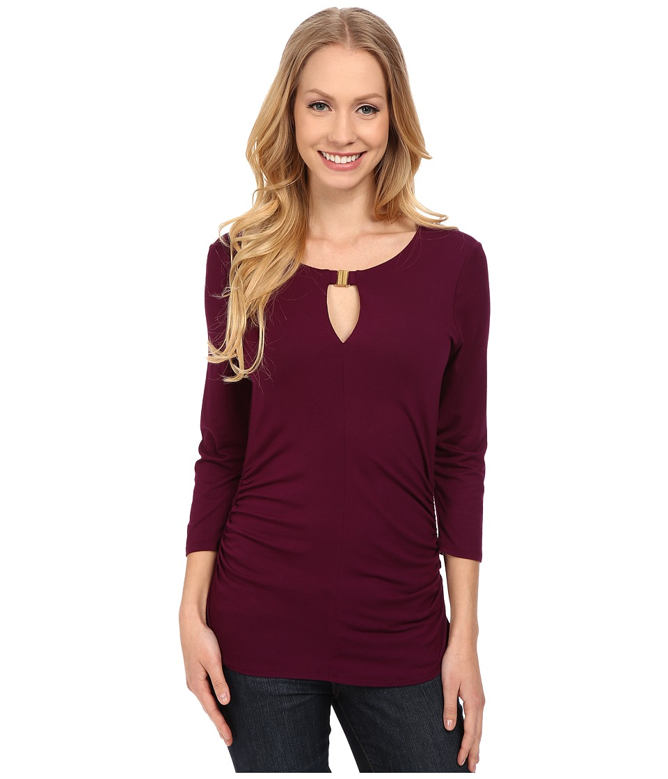 Vince Camuto - 3/4 Sleeve Keyhole Top w/ Hardware (Perfect Plum) Women