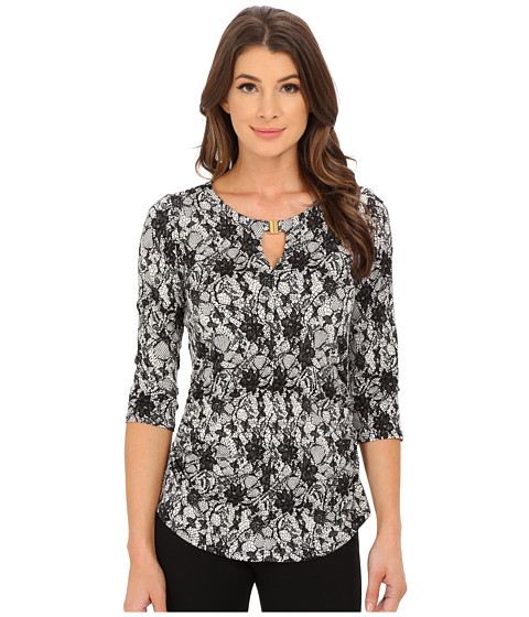 Vince Camuto - 3/4 Sleeve Lace Print Keyhole Top with Hardware (Antique White) Women's Clothing