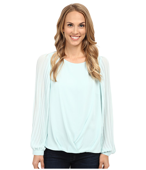 Vince Camuto - Pleated Sleeve Wrap Front Blouse (Aqua Shade) Women