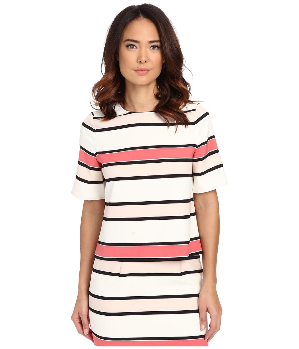 Vince Camuto - Elbow Sleeve Havana Stripe Blouse (Coral Sugar) Women's Blouse