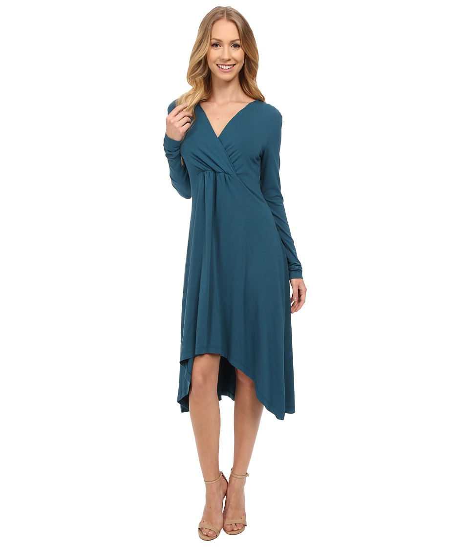 Mod-o-doc Cotton Modal Spandex Jersey 3/4 Sleeve Shirred Empire Hi-Low Dress (Baltic) Women