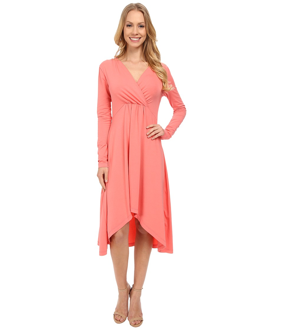 Mod-o-doc - Cotton Modal Spandex Jersey 3/4 Sleeve Shirred Empire Hi-Low Dress (Cafe Coral) Women's Dress