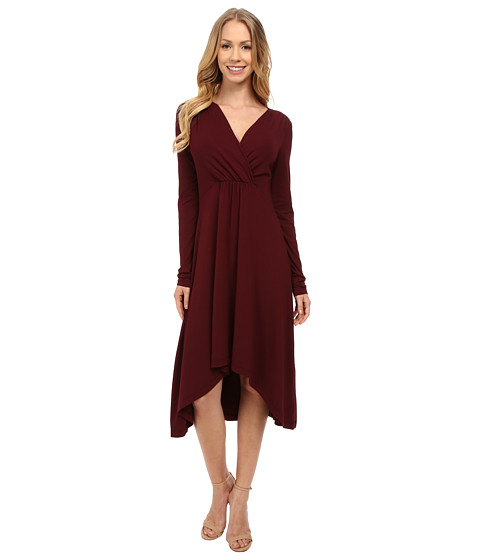 Mod-o-doc - Cotton Modal Spandex Jersey 3/4 Sleeve Shirred Empire Hi-Low Dress (Burgundy Noir) Women's Dress
