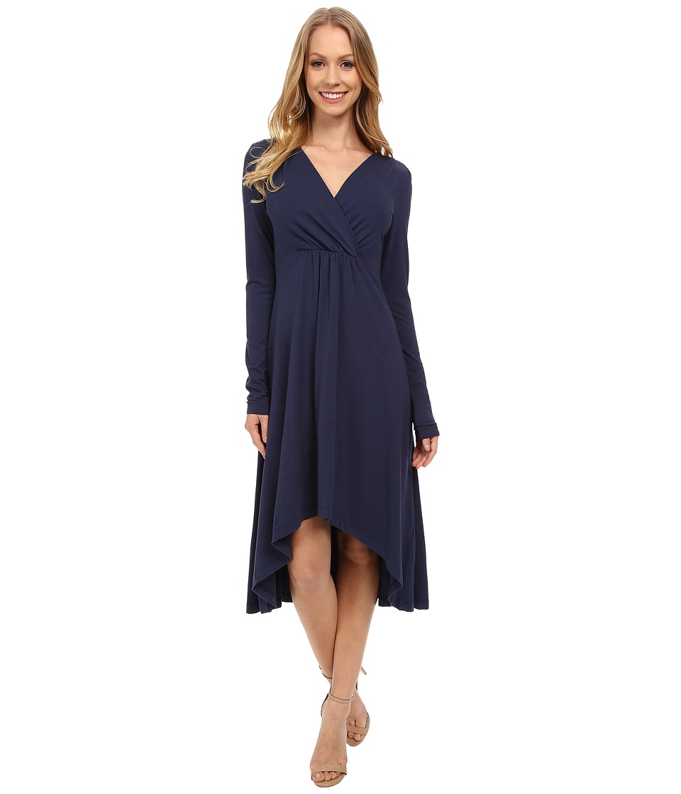 Mod-o-doc - Cotton Modal Spandex Jersey 3/4 Sleeve Shirred Empire Hi-Low Dress (New Navy) Women's Dress