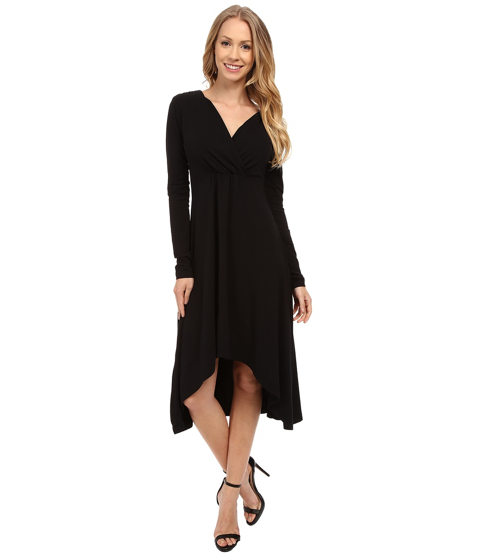Mod-o-doc Cotton Modal Spandex Jersey 3/4 Sleeve Shirred Empire Hi-Low Dress (Black) Women