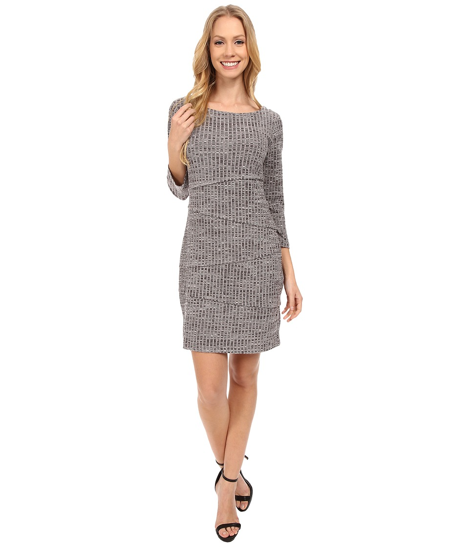 Mod-o-doc Spaced Dyed Poorboy 3/4 Sleeve Asymmetrical Tiered Dress (Night Shade) Women