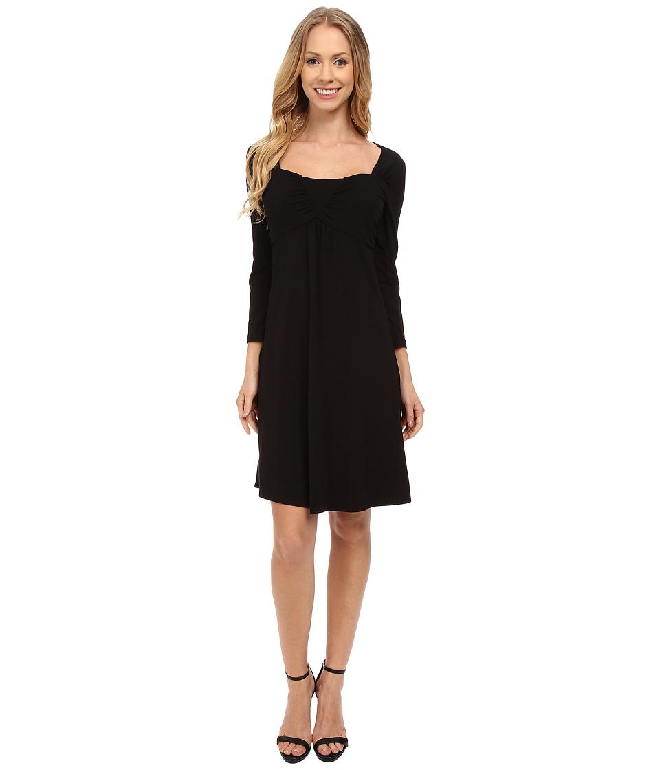 Mod-o-doc Cotton Modal Spandex Jersey Ruched Babydoll Dress (Black) Women