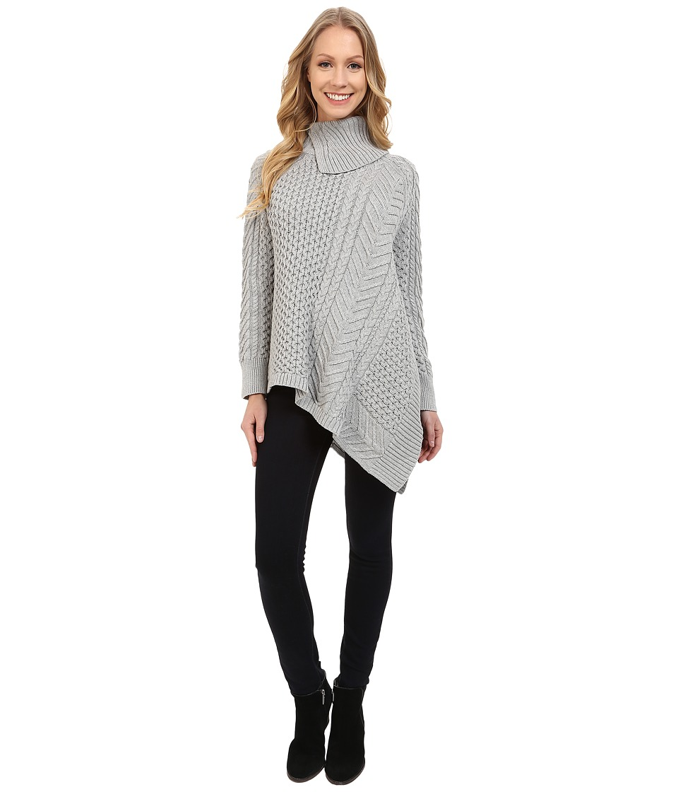 Vince Camuto - Long Sleeve Asymetrical Hem Turtleneck Mix Cable Sweater (Tin Heather) Women
