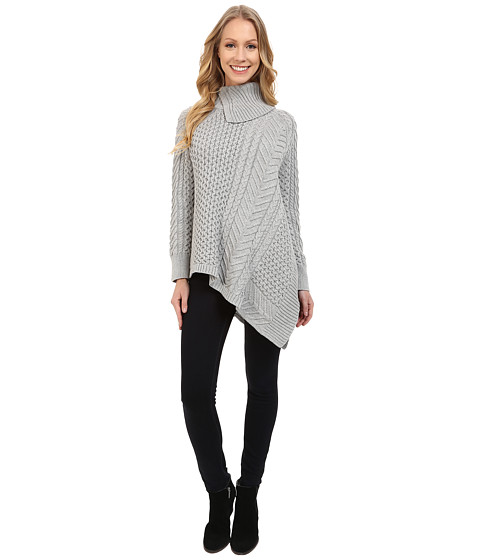 Vince Camuto - Long Sleeve Asymetrical Hem Turtleneck Mix Cable Sweater (Tin Heather) Women's Sweater