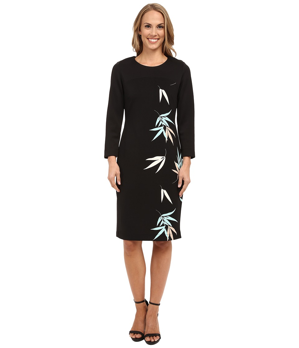 Vince Camuto - 3/4 Sleeve Floating Leaves Scuba Dress (Rich Black) Women's Dress
