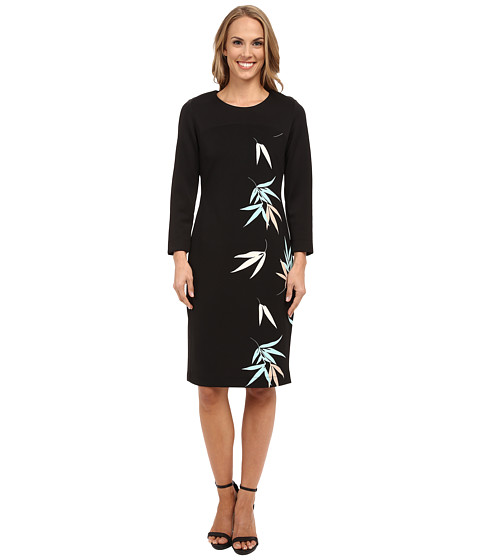 Vince Camuto - 3/4 Sleeve Floating Leaves Scuba Dress (Rich Black) Women