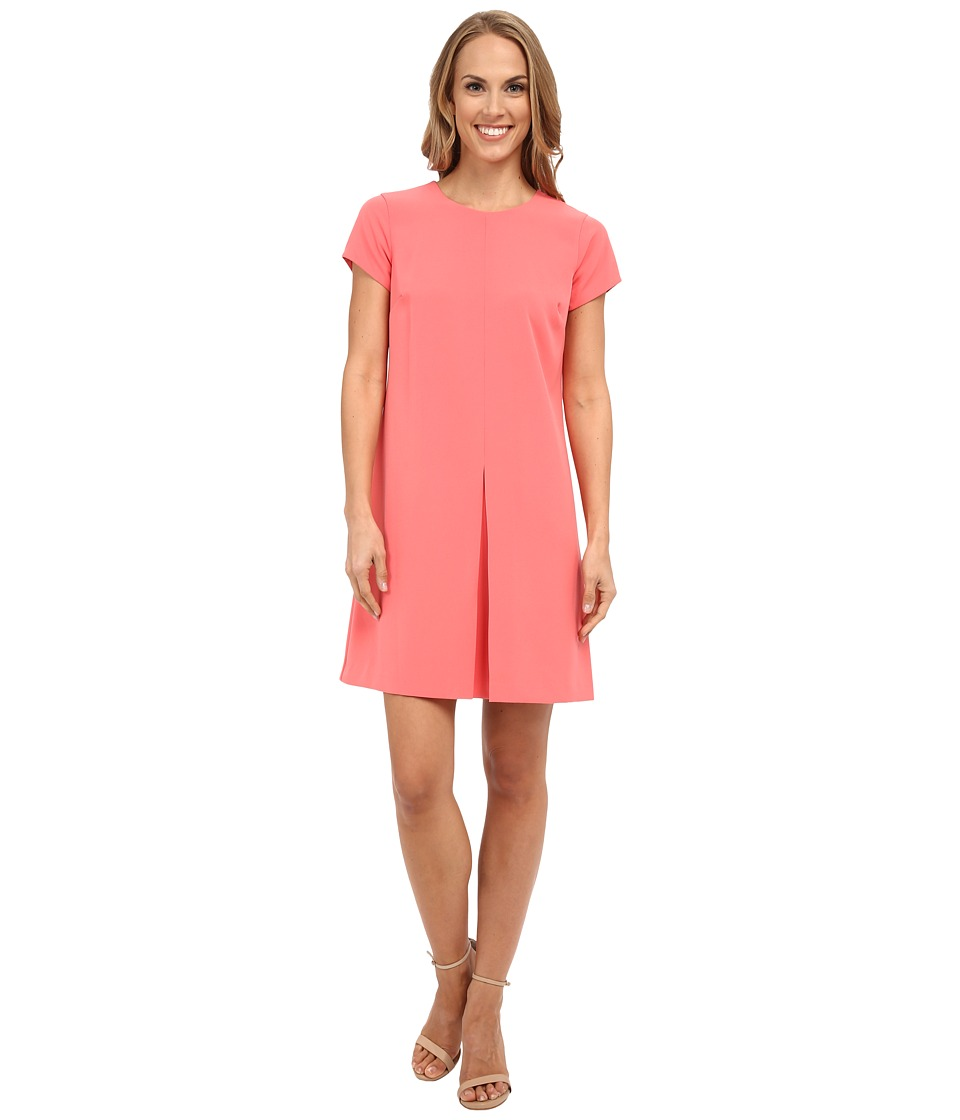 Vince Camuto - Short Sleeve Dress w/ Invert Front Pleat (Coral Sugar) Women's Dress