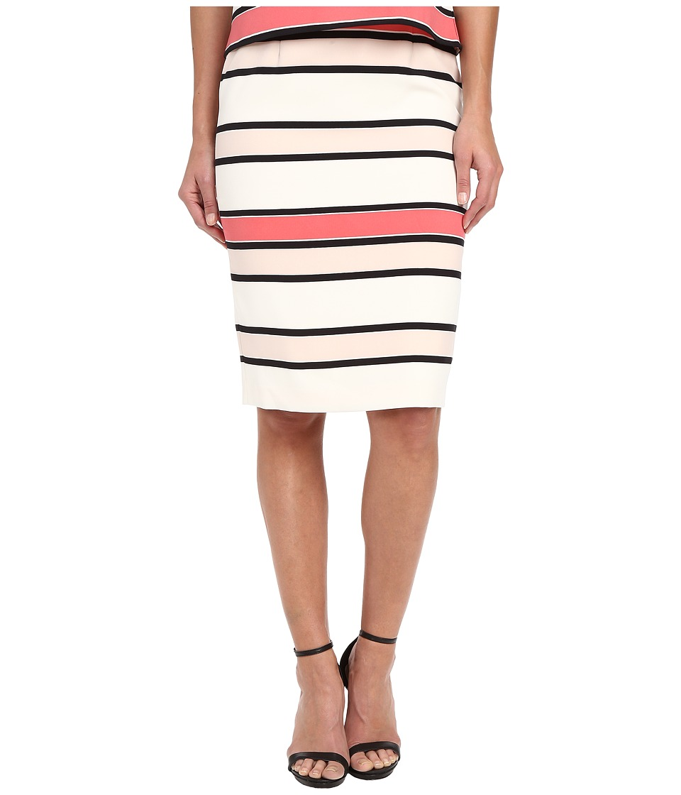 Vince Camuto - Havana Stripe Back Zip Pencil Skirt (Coral Sugar) Women's Skirt