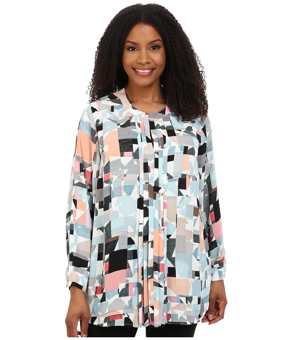 Vince Camuto Plus - Plus Size Long Sleeve Mosaic Landscape Blouse w/ Front Pleats (Aqua Shade) Women's Blouse plus size,  plus size fashion plus size appare