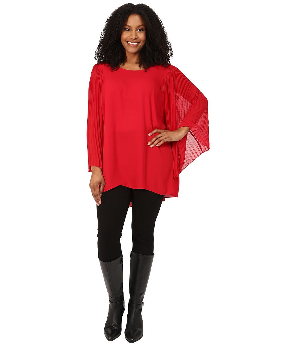 Vince Camuto Plus - Plus Size Pleated Bell Sleeve High-Low Hem Blouse (Crimson) Women's Blouse