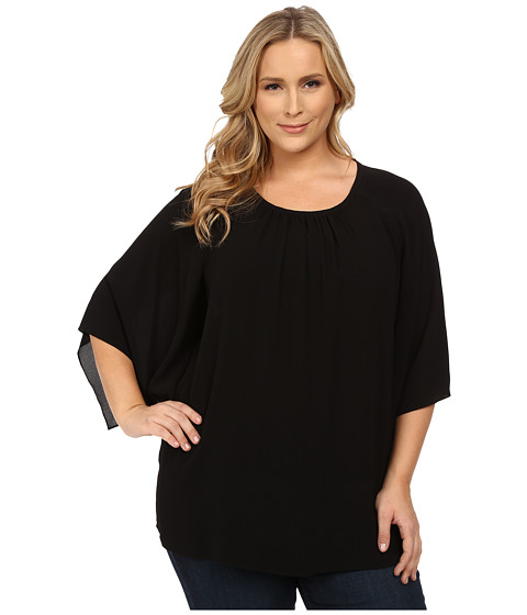 Vince Camuto Plus - Plus Size Kimono Sleeve Blouse (Rich Black) Women's Blouse