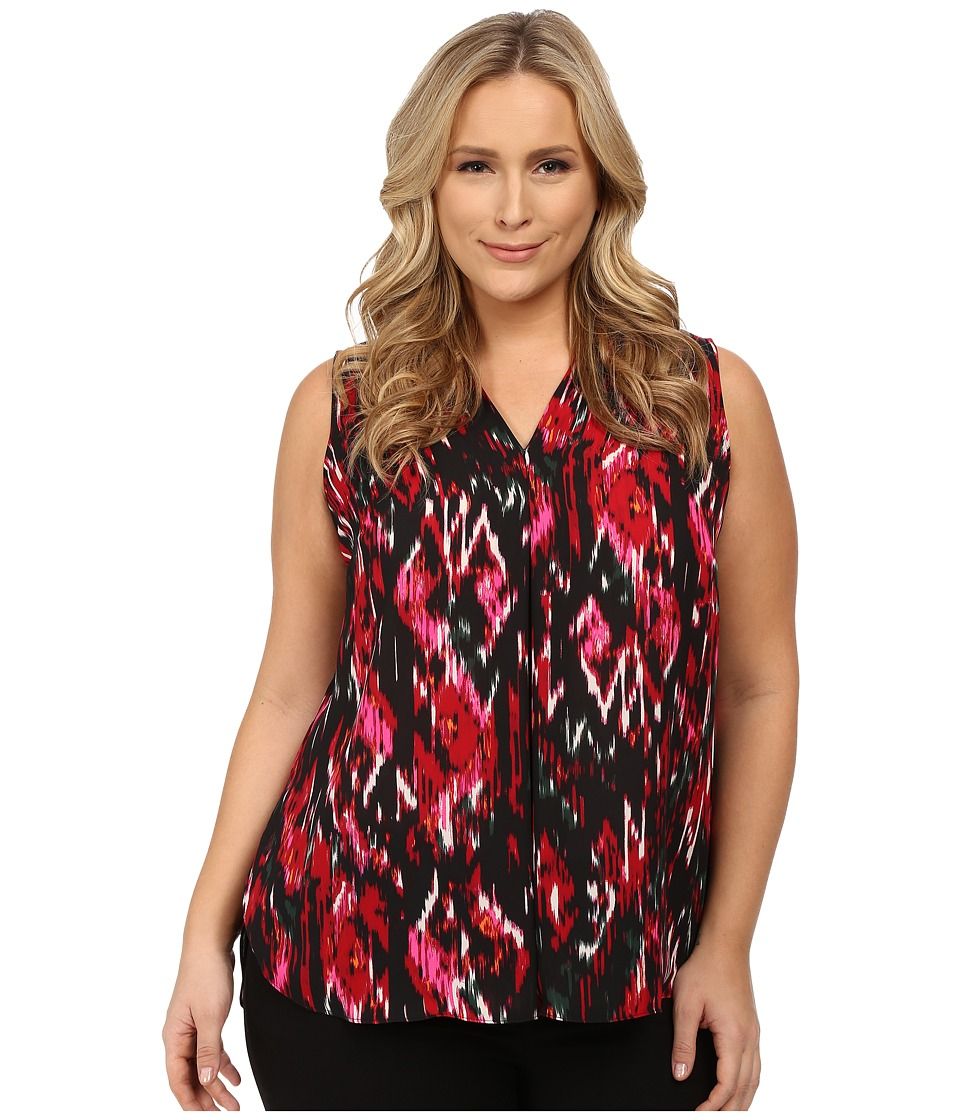 Vince Camuto Plus - Plus Size Sleeveless Ikat Flicker Blouse with Inverted Pleat (Rich Black) Women's Blouse