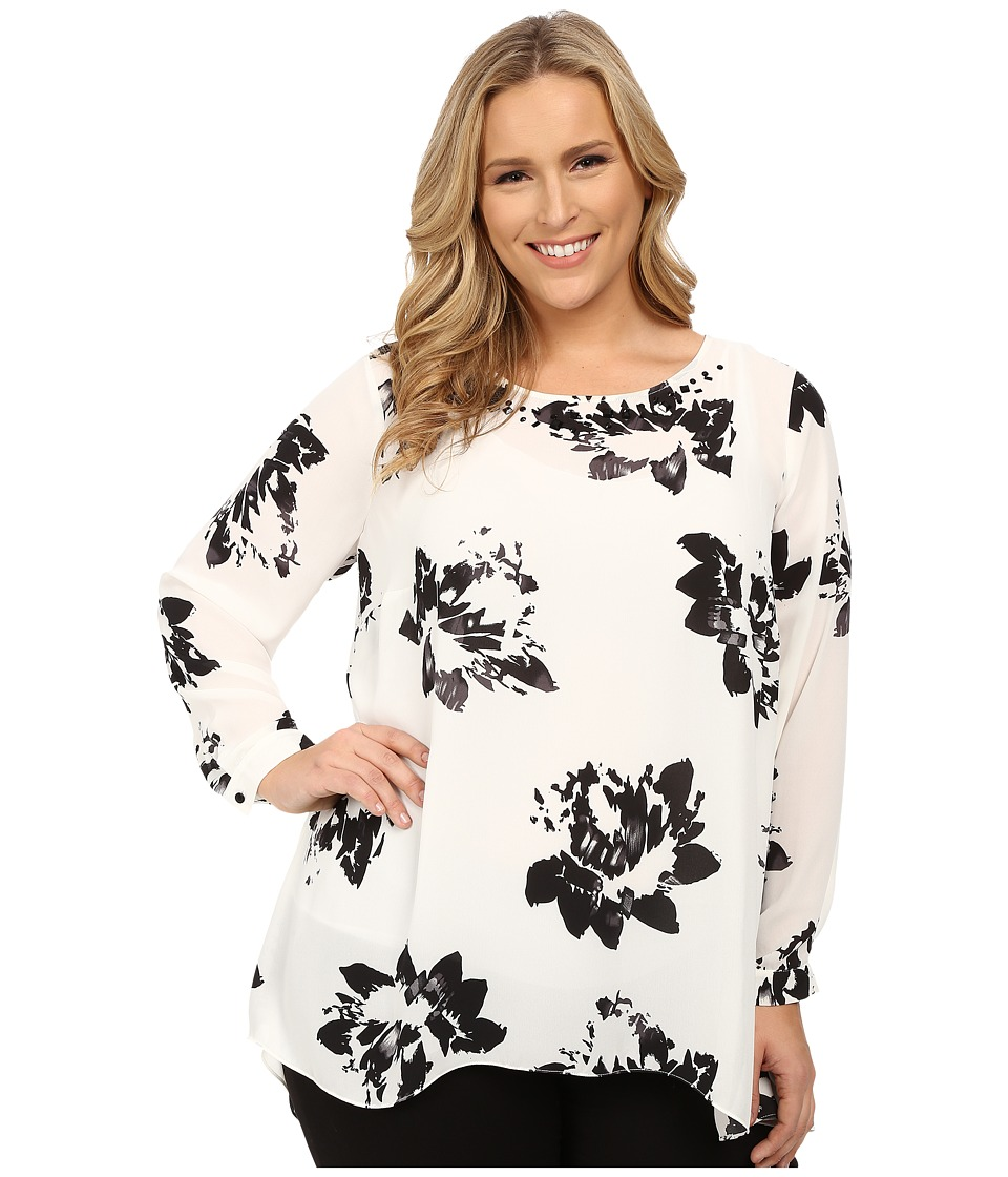 Vince Camuto Specialty Size - Plus Size Long Sleeve Floral High-Low Hem Blouse w/ Neck Embellishment (New Ivory) Women's Blouse plus size,  plus size fashion plus size appare