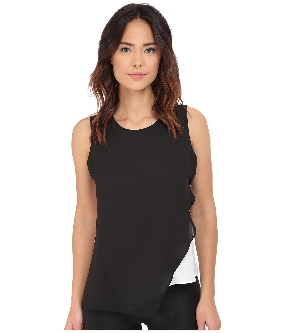Vince Camuto - Sleeveless Color Block Blouse w/ Asymetrical Overlay (Rich Black) Women's Blouse