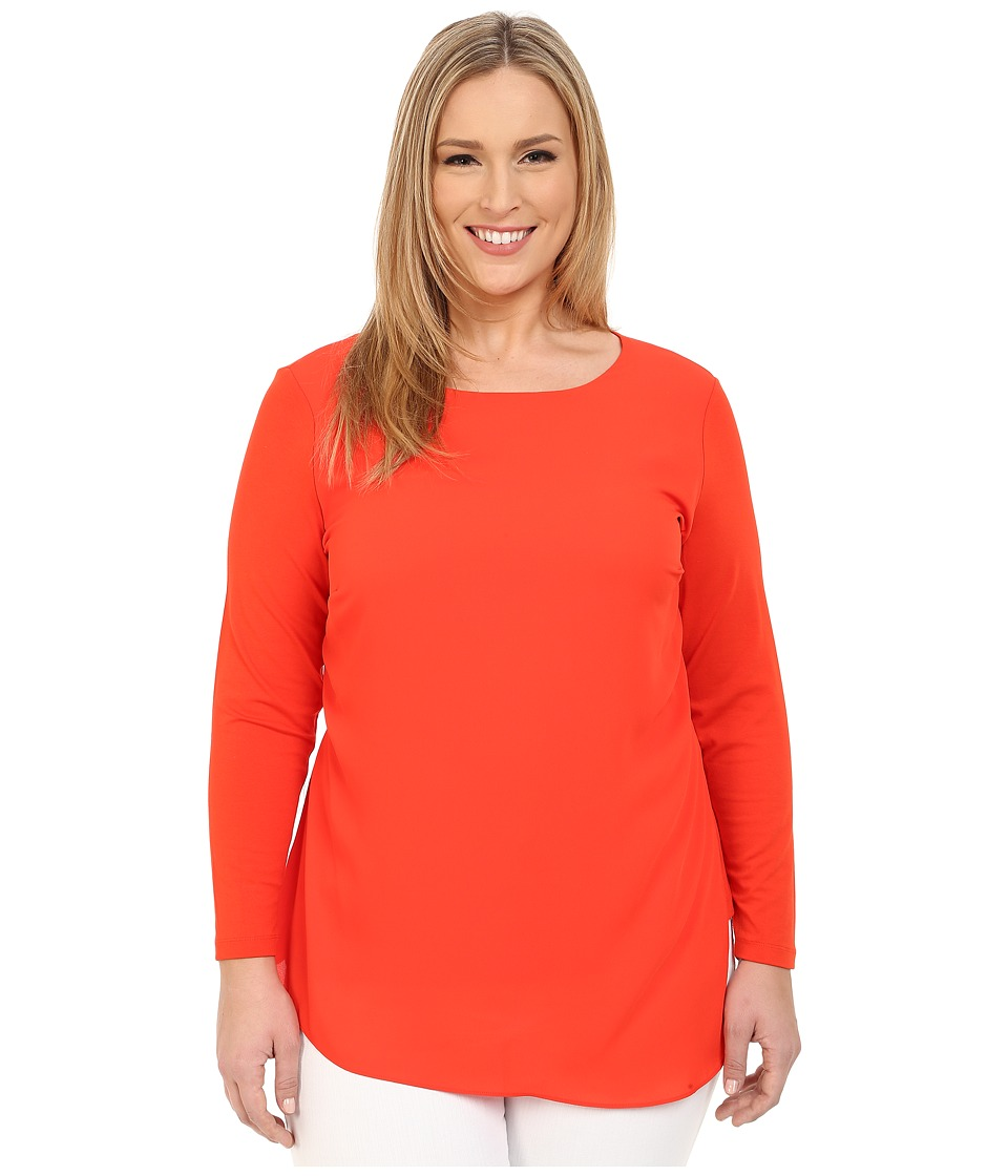 Vince Camuto Specialty Size - Plus Size Long Sleeve Top w/ Asymmetrical Overlay (Pimento) Women's Blouse