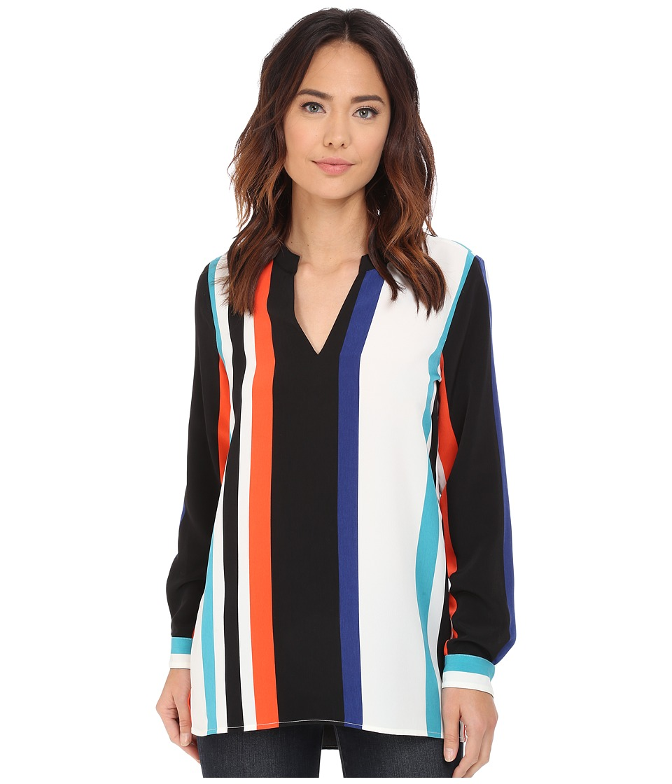 Vince Camuto - Long Sleeve Statement Stripe Mandarin Collar Blouse (Rich Black) Women's Blouse
