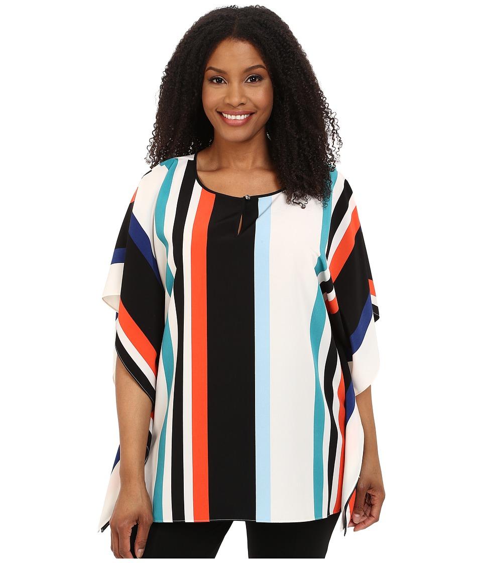 Vince Camuto Plus - Plus Size Statement Stripe Keyhole Poncho (Rich Black) Women's Blouse plus size,  plus size fashion plus size appare