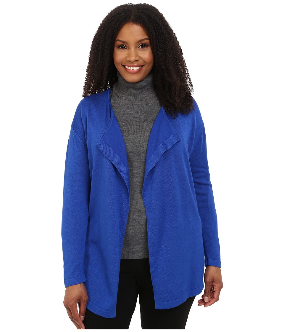 Vince Camuto Specialty Size - Plus Size Long Sleeve Open Front Cardigan (Sapphire) Women's Sweater plus size,  plus size fashion plus size appare