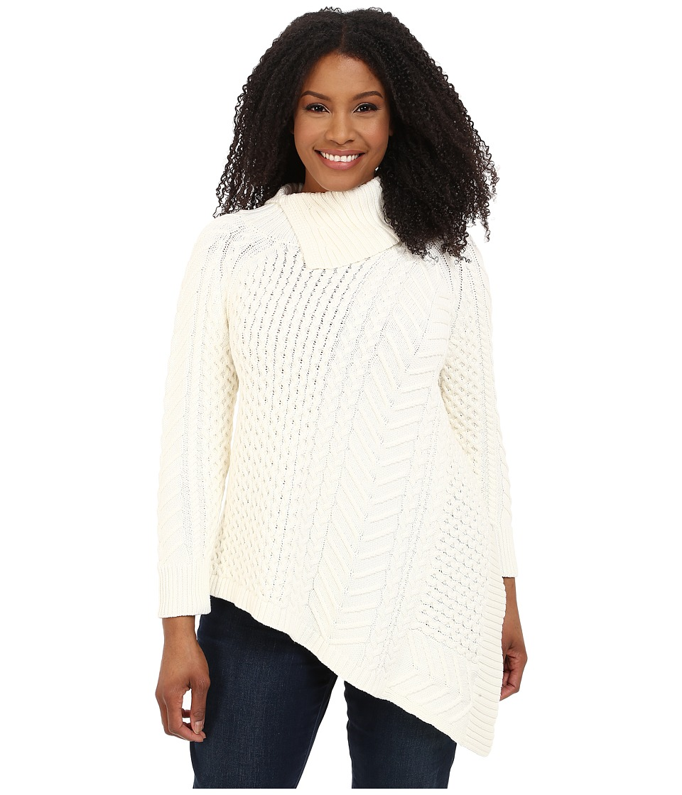 Vince Camuto Plus - Plus Size Long Sleeve Asymmetrical Hem Turtleneck Mix Cable Sweater (Antiq White) Women's Sweater