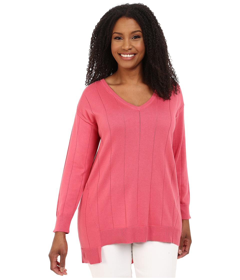Vince Camuto Plus - Plus Size Long Sleeve V-Neck Asym Hem Drop Needle Sweater (Coral Sugar) Women's Sweater plus size,  plus size fashion plus size appare
