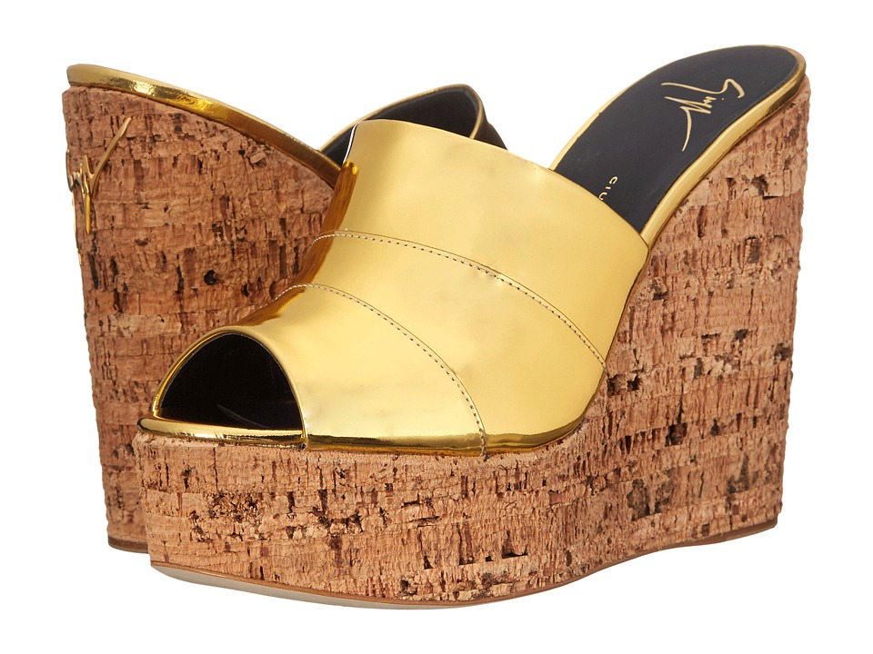 Giuseppe Zanotti - Open Toe Slip-On Wedge (Shooting Oro) Women