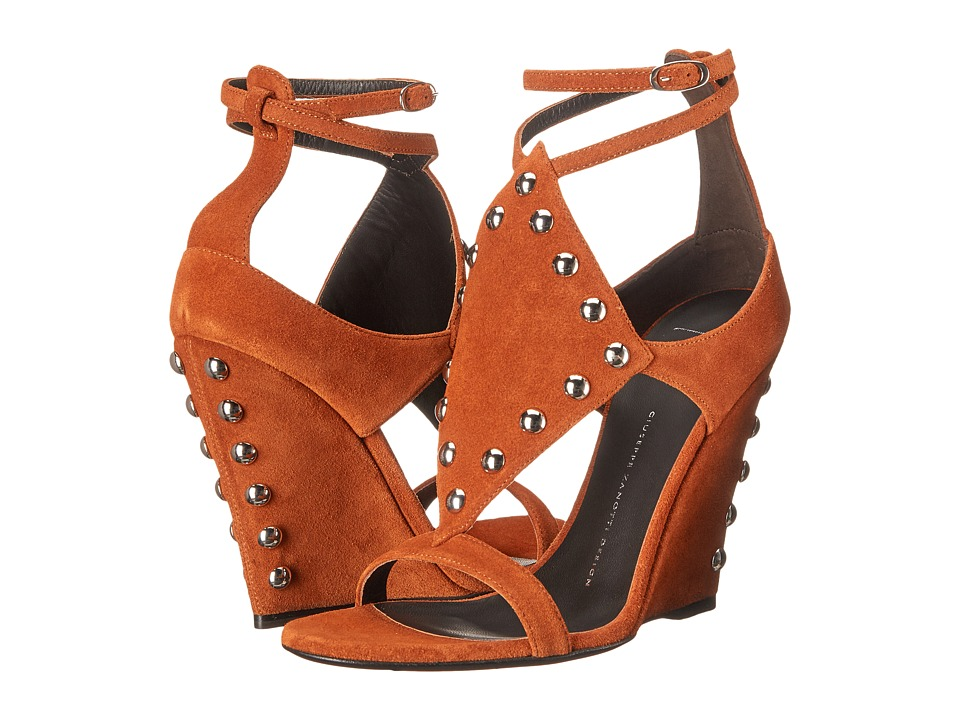 Giuseppe Zanotti Wedge Sandal w/ Studs (Velour Cotto) Women