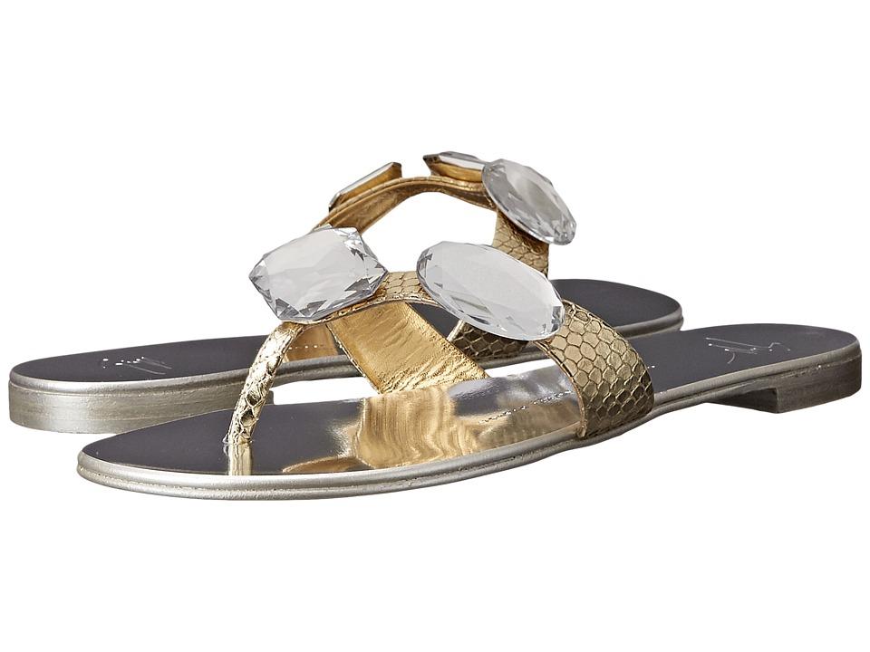 Giuseppe Zanotti - Flat Jeweled Thong Sandal (Bloods Oro) Women's Toe Open Shoes