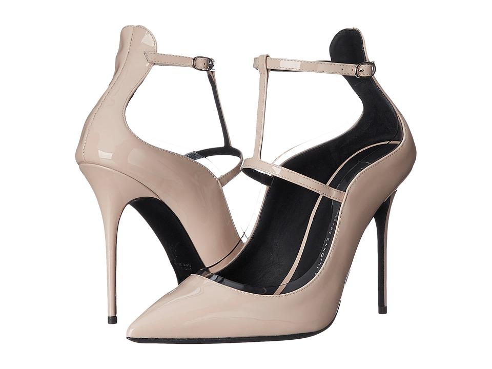 Giuseppe Zanotti T-Strap Pump w- PVC Trim Ver Sand Womens Shoes