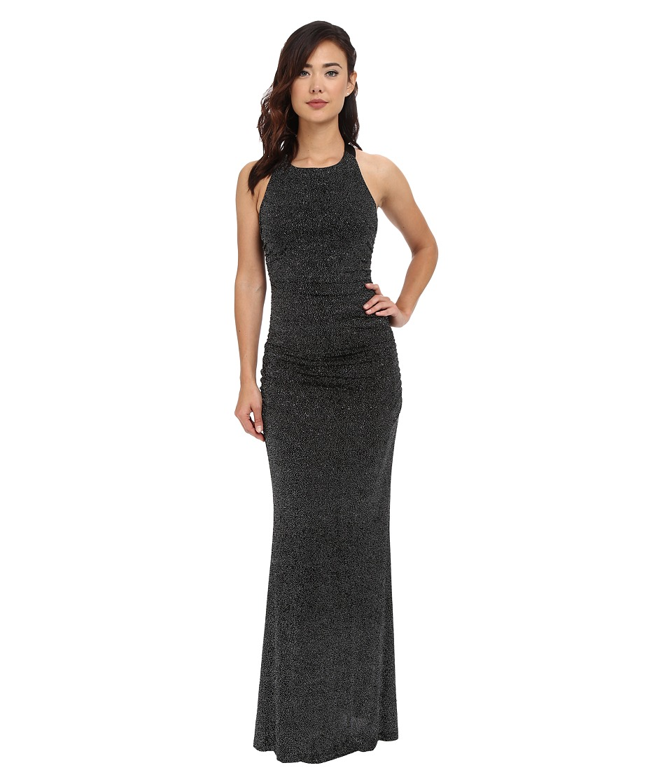 Calvin Klein - Halter Neck Ruched Gown (Black/Silver) Women's Dress