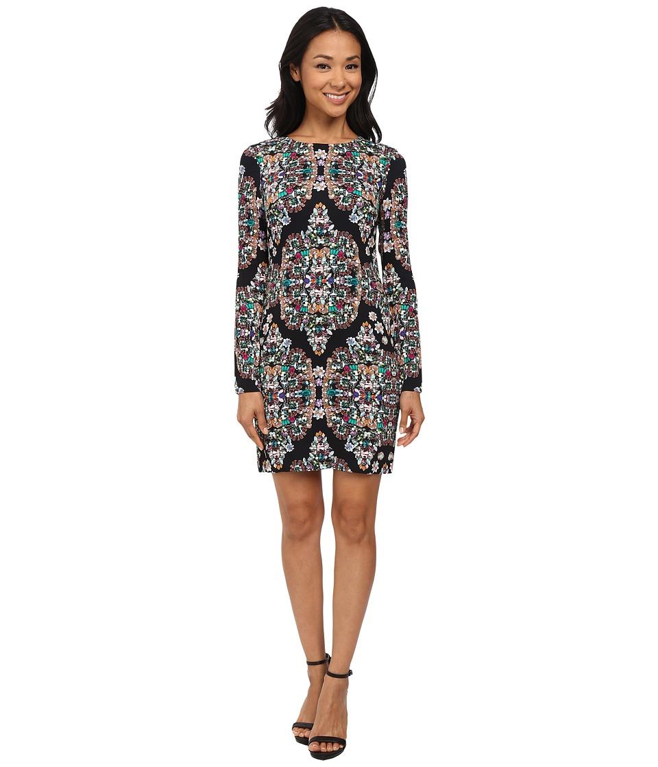 Nicole Miller Mercedes Resplendent Long Sleeve Dress (Multi) Women
