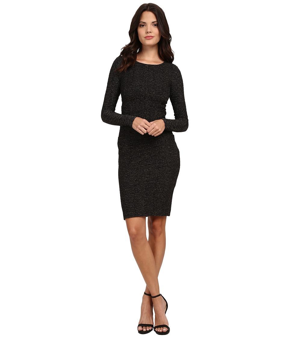 Nicole Miller - Metallic Stretch Long Sleeve Dress (Black) Women's Dress