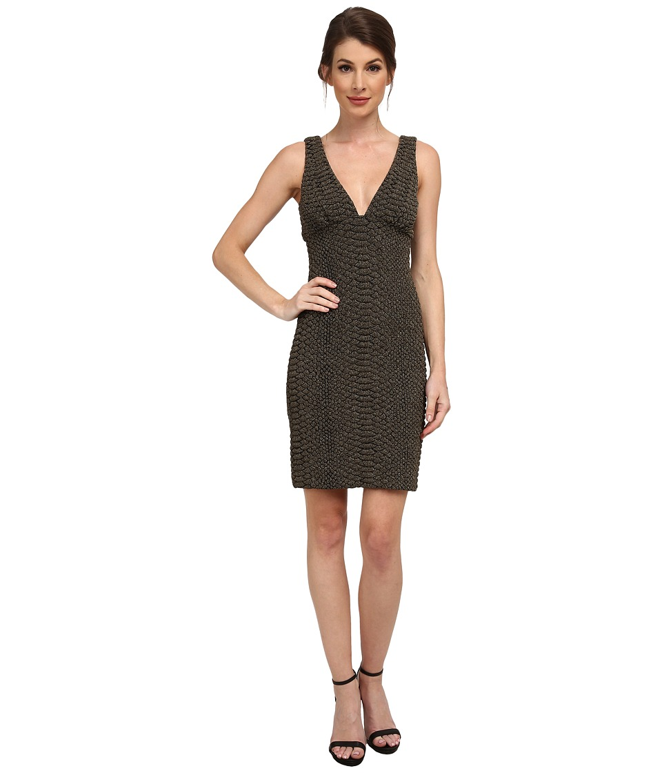 Nicole Miller - Knit Scales Plunging Gold Party Dress (Gold) Women's Dress
