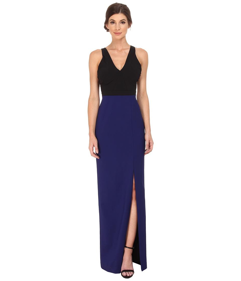 Nicole Miller Cece Color Block Gown Blue-Black Dress