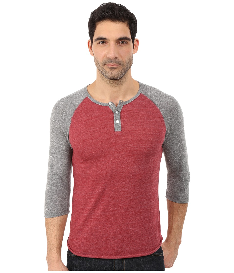 Alternative - Raglan Henley (Eco True Carmine) Men's Clothing