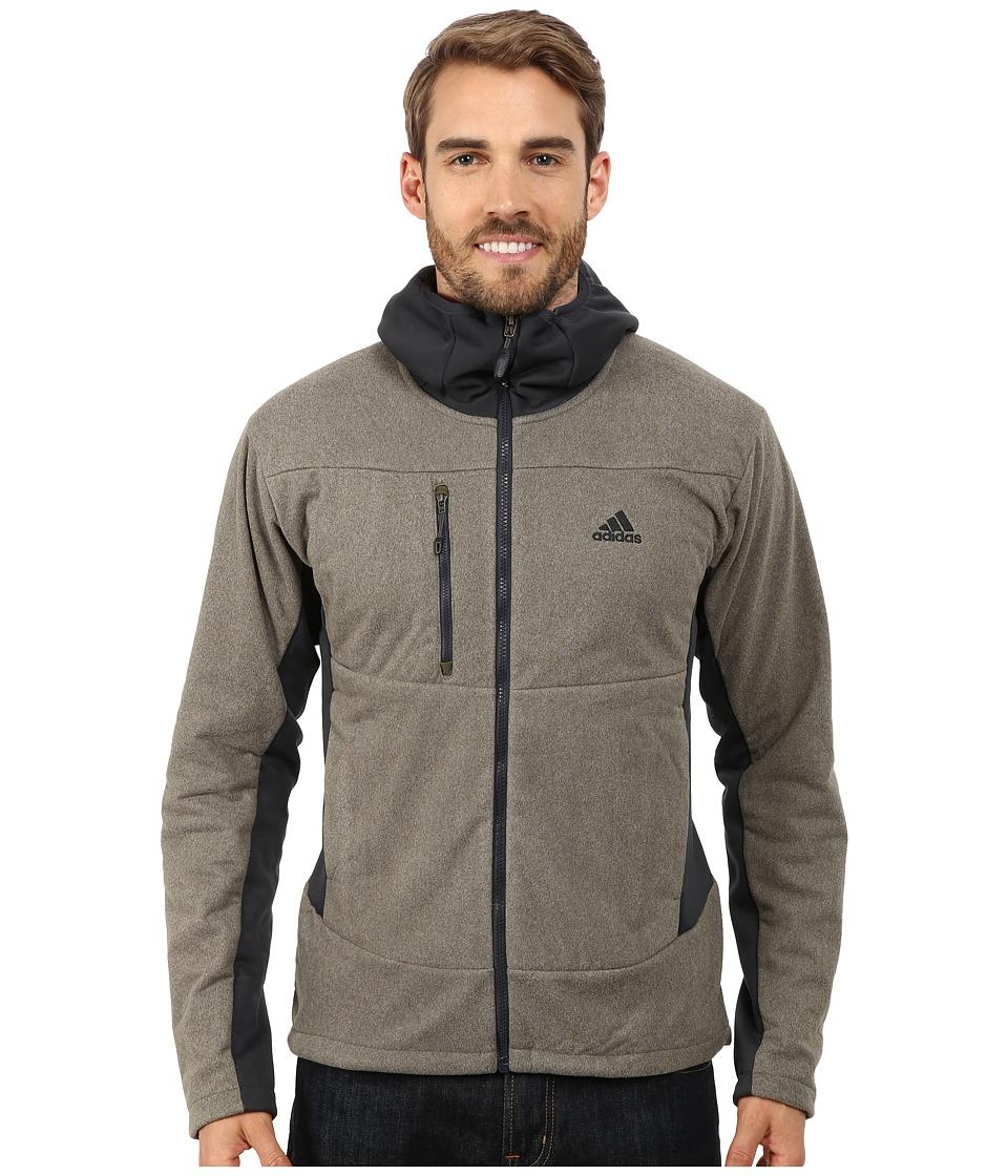 adidas Outdoor - Hiking Melange Fleece Hoodie (Earth Green) Men