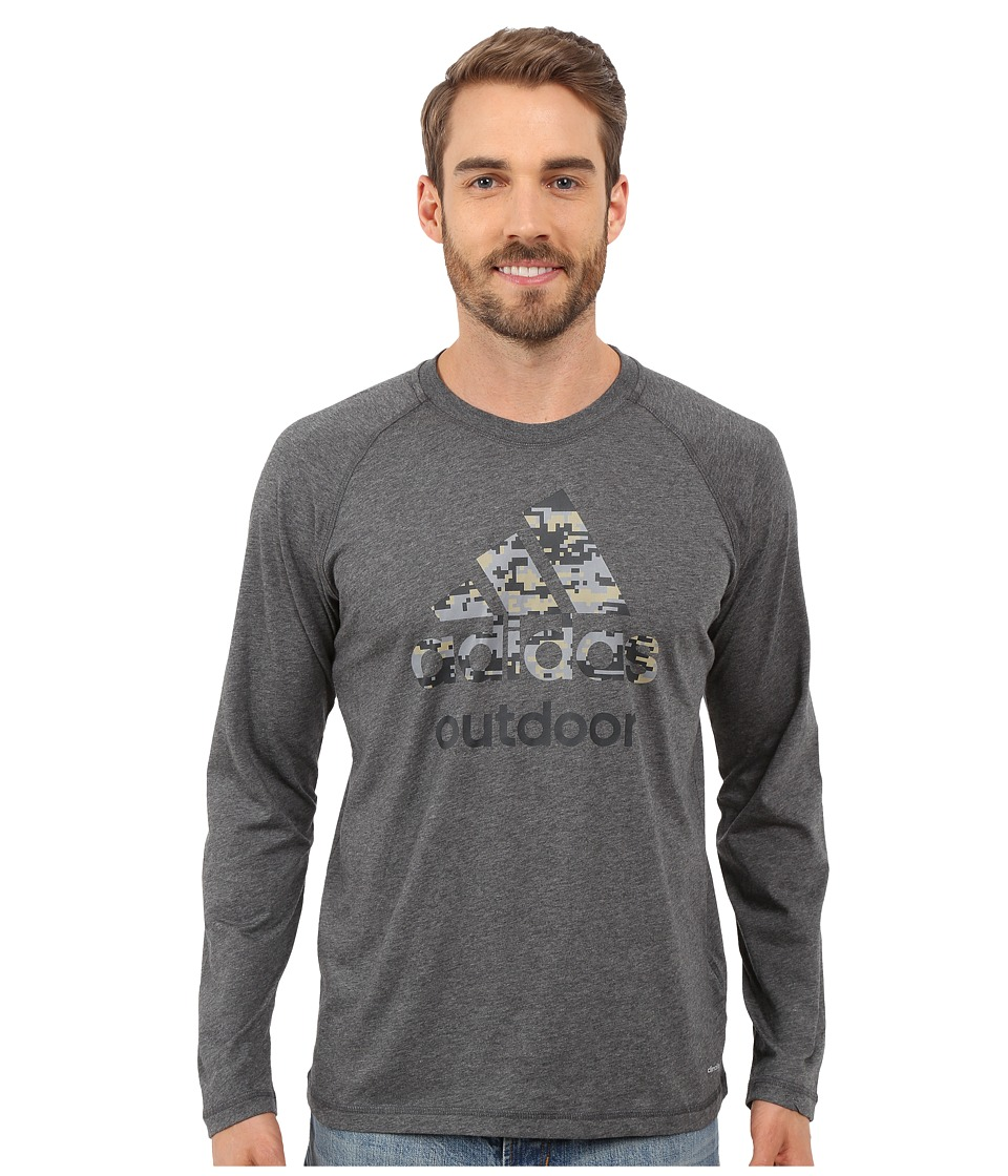 adidas Outdoor - Hiking Dri-Release Camo Long Sleeve Tee (Dark Grey Heather) Men's Long Sleeve Pullover